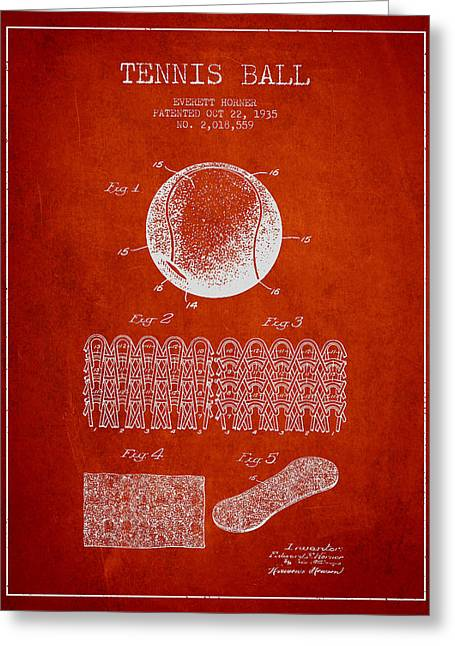 Tennis Racket Greeting Cards - Tennnis Ball Patent Drawing from 1935 Greeting Card by Aged Pixel
