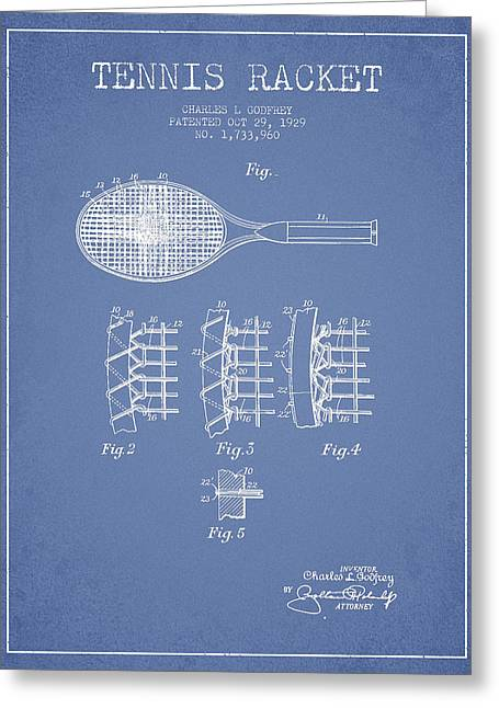 Tennis Racket Greeting Cards - Tennnis Racket Patent Drawing from 1929 Greeting Card by Aged Pixel