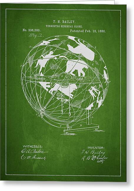 Continent Greeting Cards - Terrestro Sidereal Globe Patent Drawing From 1886 Greeting Card by Aged Pixel