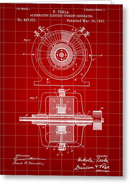 Electric Current Greeting Cards - Tesla Alternating Electric Current Generator Patent 1891 - Red Greeting Card by Stephen Younts
