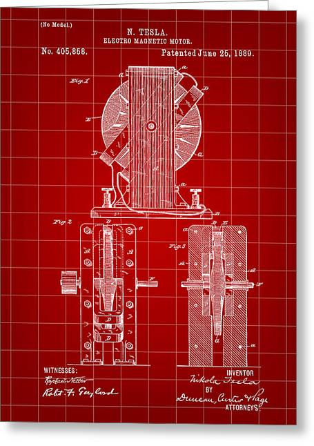 Capacitor Greeting Cards - Tesla Electro Magnetic Motor Patent 1889 - Red Greeting Card by Stephen Younts