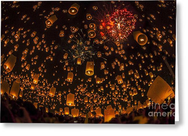 Night Lamp Greeting Cards - Thai people floating lamp Greeting Card by Anek Suwannaphoom
