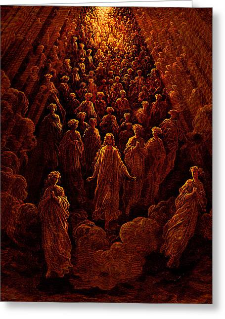 The Planets Greeting Cards - The Angels in the Planet Mercury Greeting Card by Gustave Dore