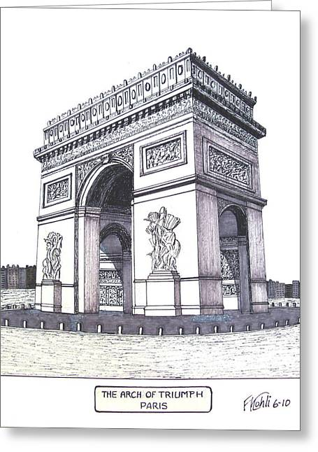 Best Sellers -  - Pen And Ink Drawing Greeting Cards - The Arch of Triumph Greeting Card by Frederic Kohli