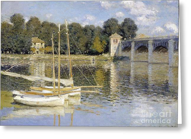 Vintage Painter Greeting Cards - The Argenteuil Bridge Greeting Card by Claude Monet