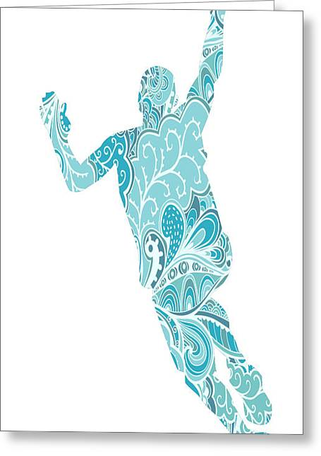 Basket Ball Game Mixed Media Greeting Cards - The Basket Player Greeting Card by Celestial Images