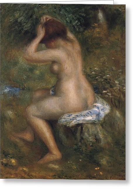 Hair-washing Paintings Greeting Cards - The Bathers Greeting Card by Pierre-Auguste Renoir