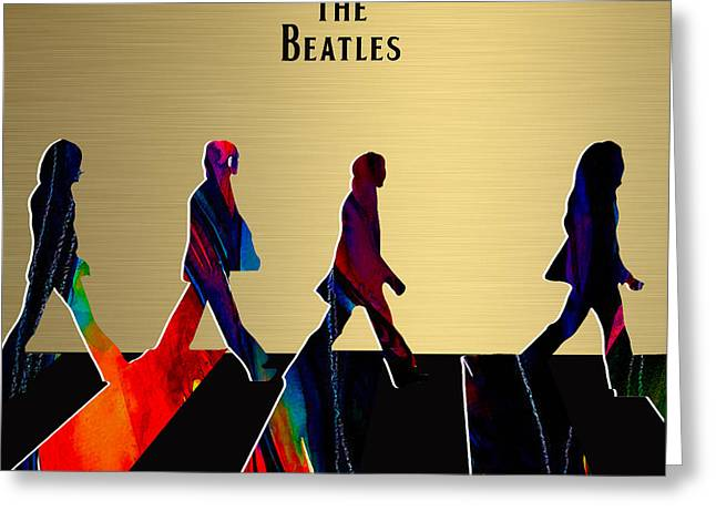 Lennon Greeting Cards - The Beatles Gold Series Greeting Card by Marvin Blaine