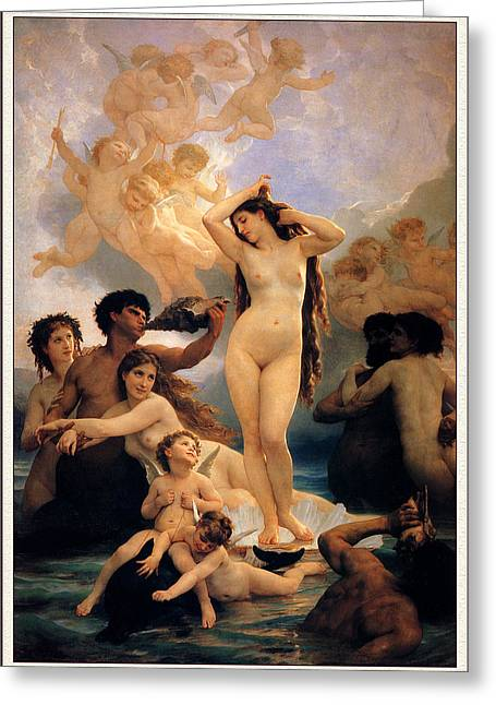 Bouguereau; William-adolphe (1825-1905) Greeting Cards - The Birth Of Venus Greeting Card by William-Adolphe Bouguereau