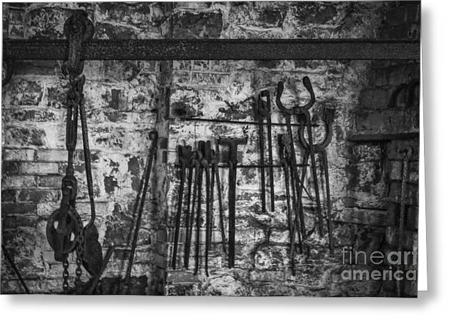 Antique Ironwork Greeting Cards - The Blacksmith Shop Greeting Card by Steve Purnell
