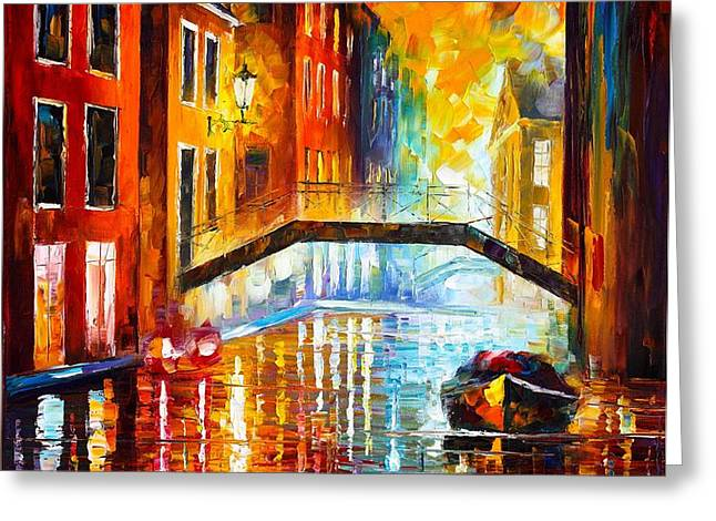 THE CANALS OF VENICE Greeting Card by Leonid Afremov