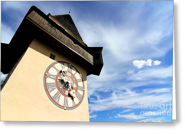 Styria Greeting Cards - The Clock tower in Graz	 Greeting Card by Michael Osterrieder
