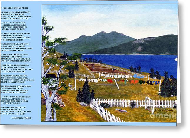 The Clothesline Greeting Card by Barbara Griffin