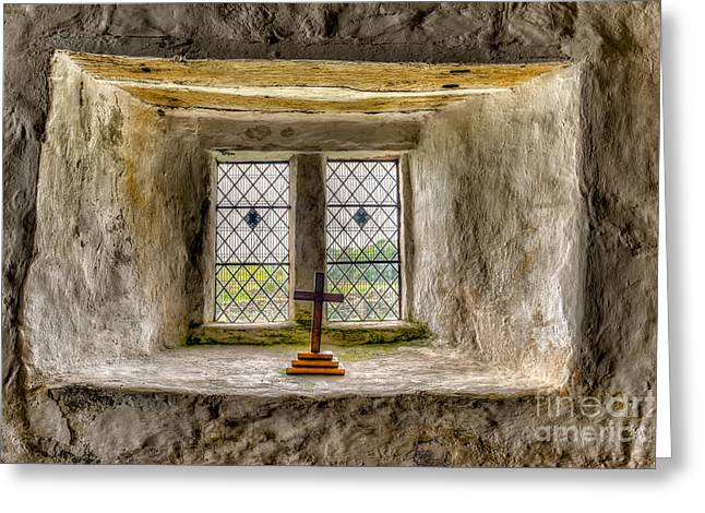 Window Panes Greeting Cards - The Cross Greeting Card by Adrian Evans