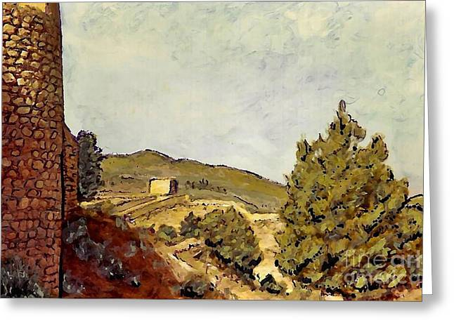 Europe Mixed Media Greeting Cards - The Fort in Lorca Greeting Card by Sarah Loft