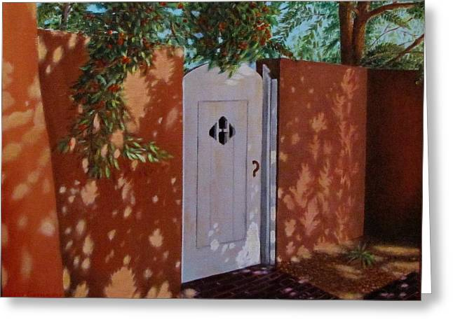 Gene Gregory Greeting Cards - The Garden Gate Greeting Card by Gene Gregory