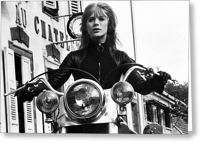 1960 Greeting Cards - The Girl on a Motorcycle  Greeting Card by Silver Screen