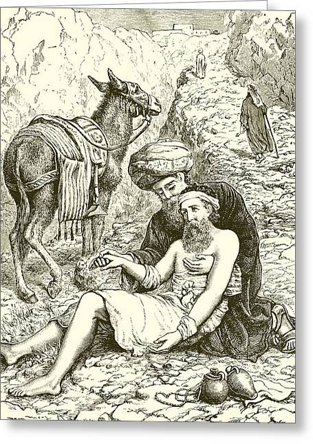 Rocks Drawings Greeting Cards - The Good Samaritan Greeting Card by English School