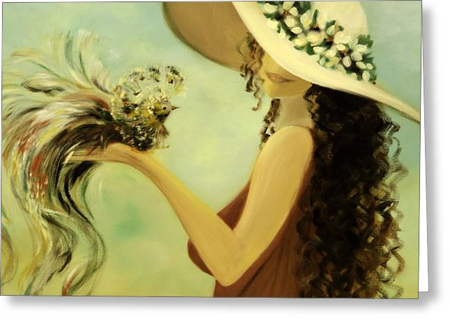 Woman In A Dress Greeting Cards - The Hand That Doesnt Grasp Greeting Card by Gina De Gorna