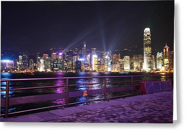 Tsim Photographs Greeting Cards - The Hong Kong City Skyline at night Greeting Card by Ash Sharesomephotos