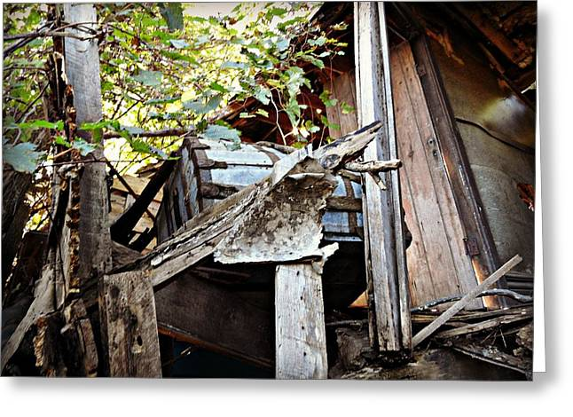 Old Relics Paintings Greeting Cards - The Hurrys Homestead  Greeting Card by Cyryn Fyrcyd
