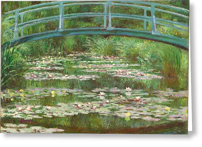 Lilly Pad Paintings Greeting Cards - The Japanese Footbridge Greeting Card by Claude Monet