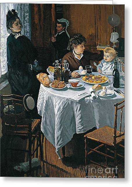 Vintage Painter Greeting Cards - The Luncheon Greeting Card by Claude Monet
