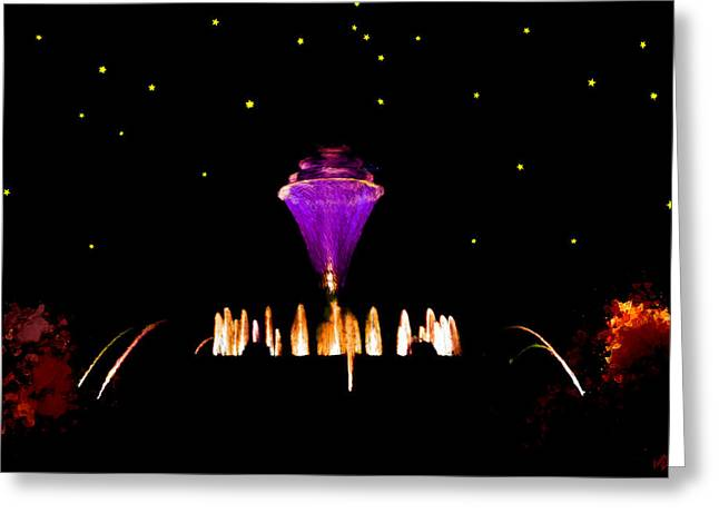 Jet Star Paintings Greeting Cards - Magical Fountain Greeting Card by Bruce Nutting