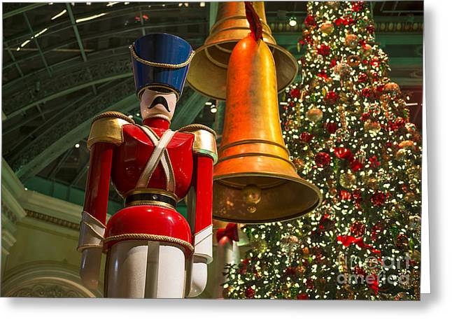 Nutcrackers Greeting Cards - The magical holiday seasonal display at the Bellagio Conservator Greeting Card by Jamie Pham