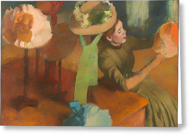 Business Woman Greeting Cards - The Millinery Shop Greeting Card by Edgar Degas