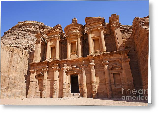 Petra - Jordan Greeting Cards - The Monastery sculpted out of the rock at Petra in Jordan Greeting Card by Robert Preston
