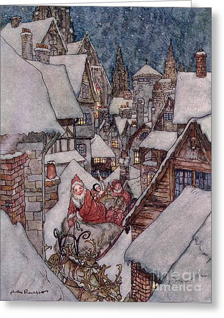 Santa Claus Greeting Cards - The Night Before Christmas Greeting Card by Arthur Rackham