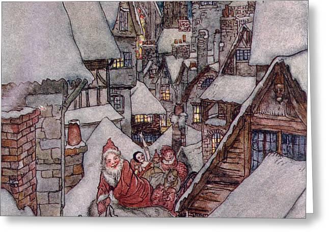 'The Night Before Christmas Greeting Card by Arthur Rackham