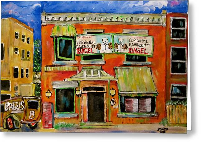 Michael Litvack Greeting Cards - the Other Bagel Factory Greeting Card by Michael Litvack