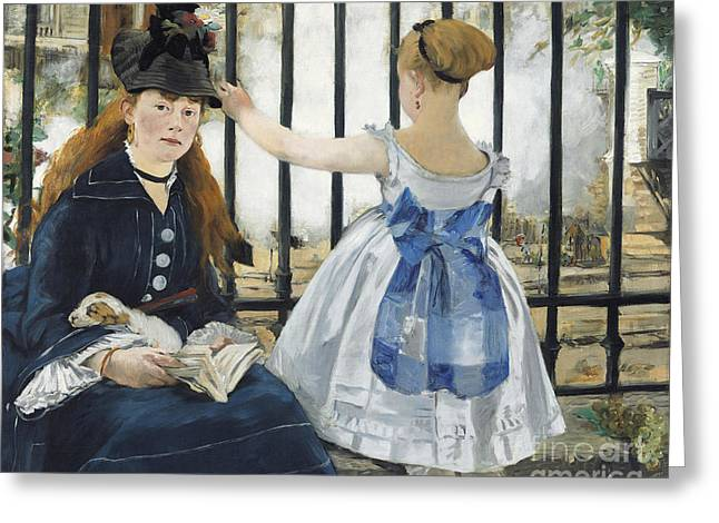 Fog Mist Paintings Greeting Cards - The Railway Greeting Card by Edouard Manet