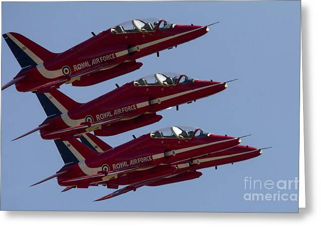 Aviation Display Greeting Cards - The Red Arrows Greeting Card by J Biggadike