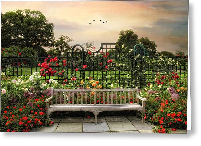 Trellis Digital Greeting Cards - The Rose Garden Greeting Card by Jessica Jenney