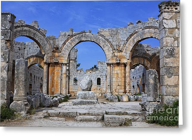 Qalat Greeting Cards - The ruins of the church of St Simeon Syria Greeting Card by Robert Preston