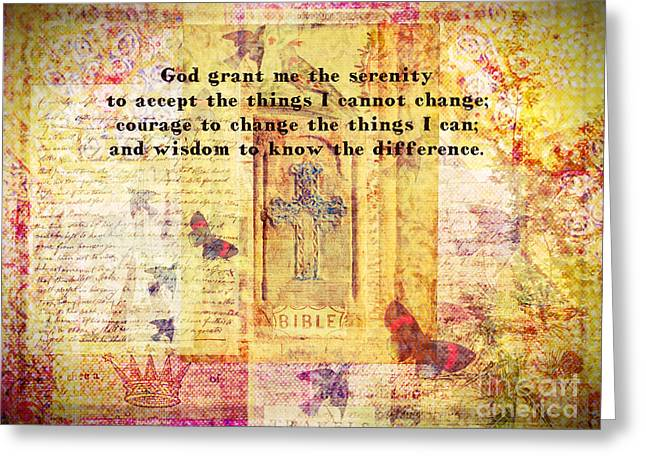 Serenity Prayer Mixed Media Greeting Cards - The Serenity Prayer with Christian Cross Greeting Card by Marigold Winterstamp