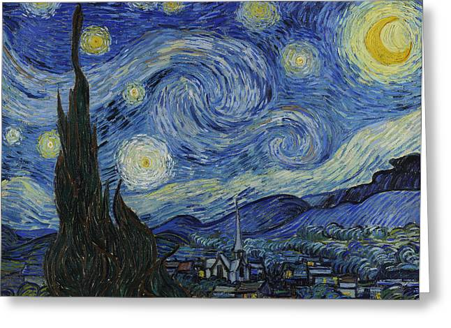 Vangogh Greeting Cards - The Starry Night Greeting Card by Vincent Van Gogh