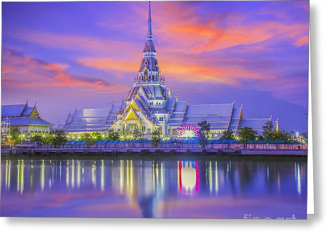 Reflections In River Greeting Cards - The Temple of So-thorn Greeting Card by Anek Suwannaphoom