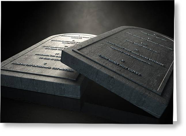 Instructions Greeting Cards - The Ten Commandments Greeting Card by Allan Swart