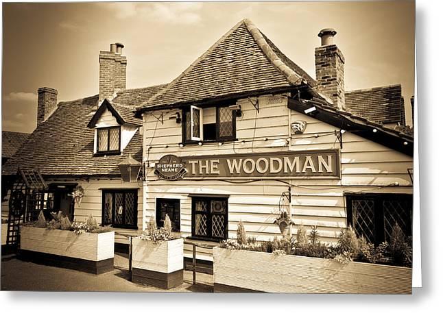 The Woodman Pub Greeting Card by David Pyatt