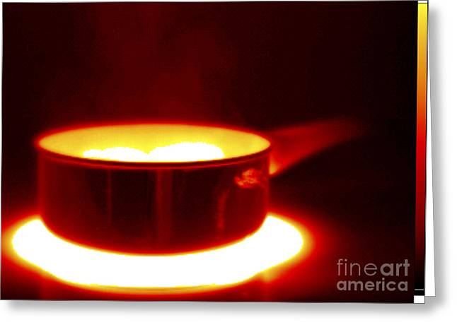 Saucepan Greeting Cards - Thermogram Of A Saucepan Greeting Card by GIPhotoStock