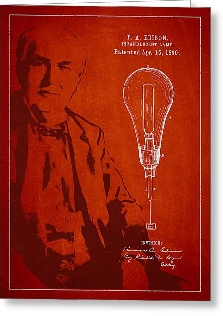 Incandescent Greeting Cards - Thomas Edison Incandescent Lamp Patent Drawing From 1890 Greeting Card by Aged Pixel