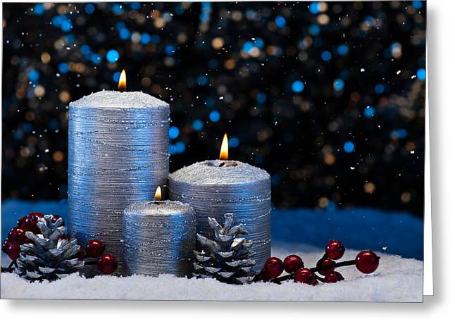 Candle Lit Greeting Cards - Three Silver Candles in snow  Greeting Card by Ulrich Schade