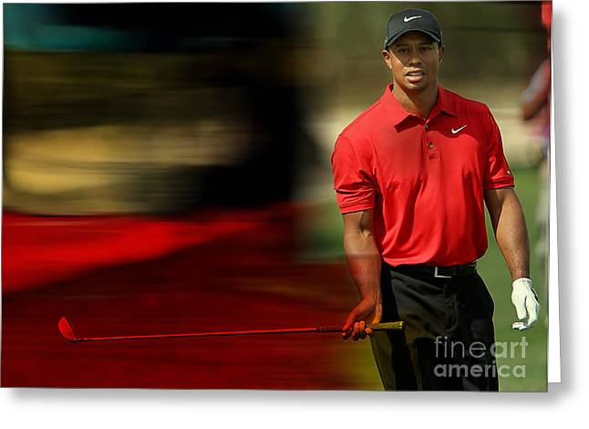 Tigers Greeting Cards - Tiger Woods Greeting Card by Marvin Blaine