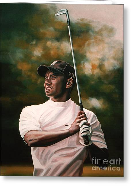 The Tiger Greeting Cards - Tiger Woods  Greeting Card by Paul  Meijering