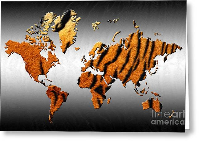 Cat Map Greeting Cards - Tiger World Map Greeting Card by Zaira Dzhaubaeva