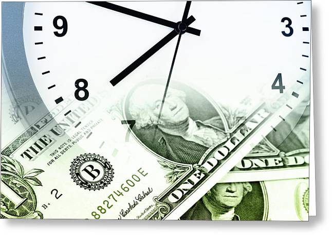 Hurry Greeting Cards - Time is money concept Greeting Card by Les Cunliffe
